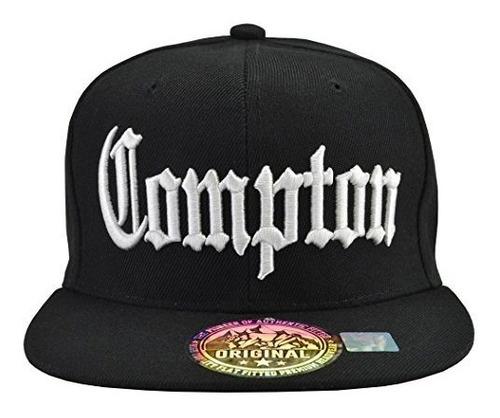 Compton Snap Back Sombrero Negro Blanco Embordado