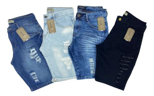 Kit 4 Bermudas Jeans Rasgada Desfiada Lançamento Destoyed