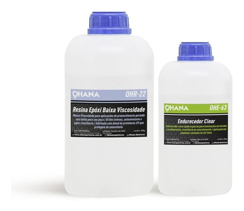 Resina Epoxi Ohana Baixa Viscosidade C/ Endurecedor Kit1,5kg