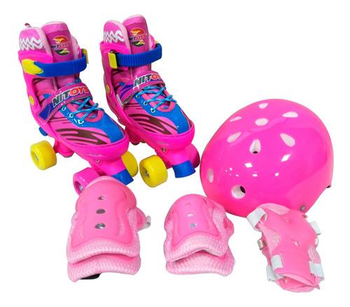 Patins Infantil Ajustável Masculino Feminino C Kit Proteção