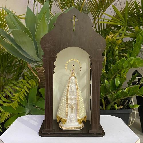 Capela Com Imagem Nossa Senhora Aparecida 23cm Em Perola