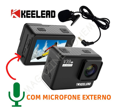 Câmera Keelead V39 4k 60fps Ultra Hd + Microfone Externo