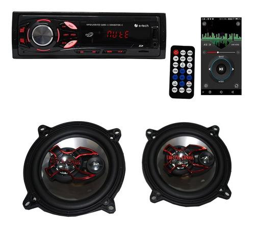 Som Automotivo Mp3 Radio Carro + 1 Par Falantes 5 Pol Bravox