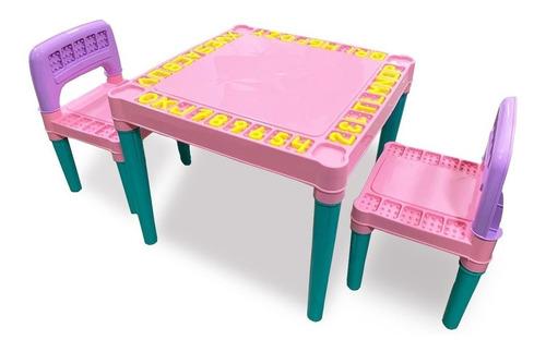 Mesa Mesinha Infantil Com 2 Cadeira Educativa Para Crianças