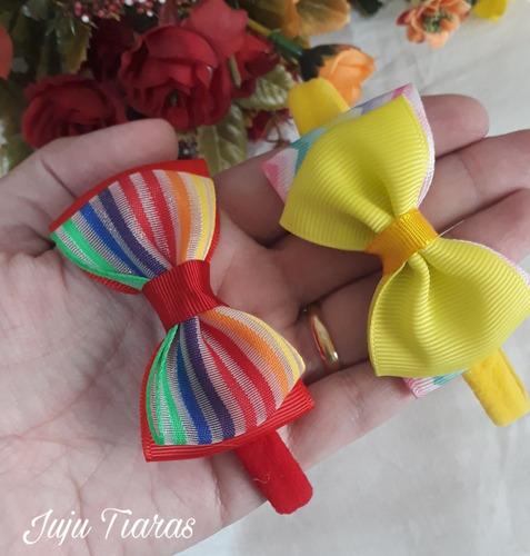 Faixa Meia Seda Bebê Rn Menina Laço Estampado Kit C/5 Verão