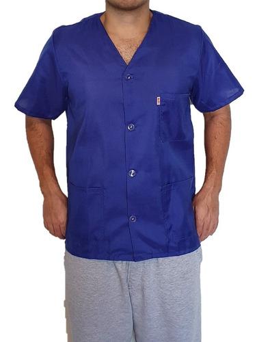 Camisa Jaleco Sem Gola Curto Manga Curta  3 Bolsos