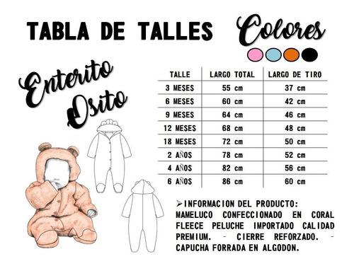 Mameluco Enterito Pijama Osito Suave Calentito Bebes Y Niños