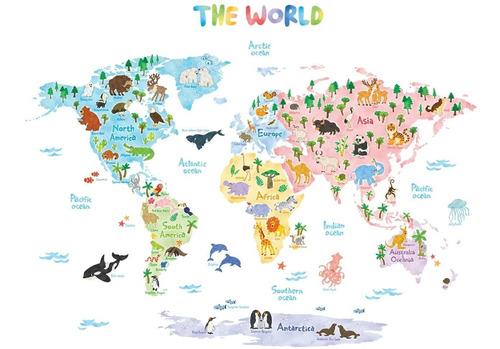 Dat S Animales Pared Mapa Mundo Los Niños Decals Adhes...