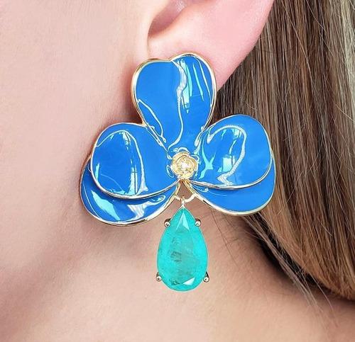 Brinco Orquídea Esmaltado Azul Marinho Com Fusion Colombiana