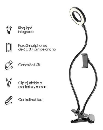 Aro De Luz Selfie 2 En 1 Porta Celular Tiktok Live Stream Bg