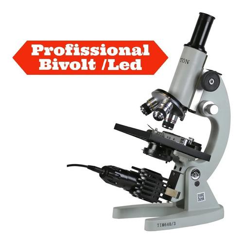 Microscópio Biológico Monocular Aumento 20x Até 640x 110 V