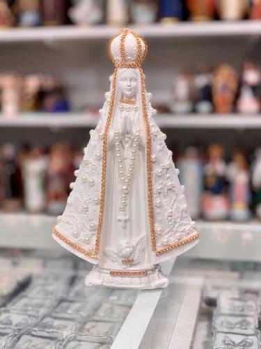 Imagem Nossa Senhora Aparecida Branca Pérolas 20cm Gesso