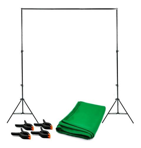 Kit De Suporte 2x2m Com Fundo Verde Chroma 2x2,80m + Grampos