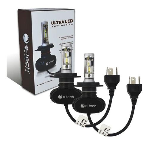 Kit Lampada Ultra Led E-tech Encaixe H4 8000k 6000 Lumens