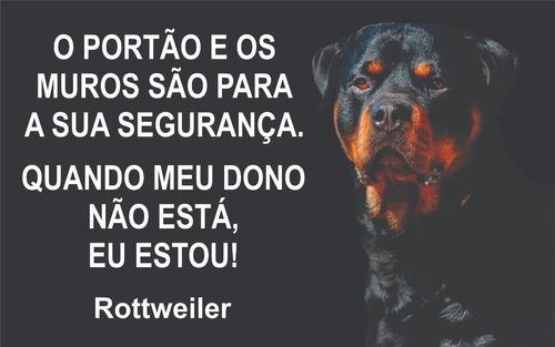 Placa Cuidado Cão Bravo Rottwailer 40x24 Altopadrão