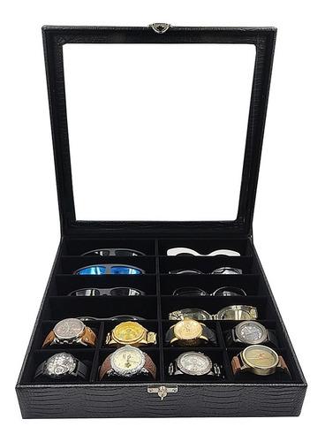 Caixa Maleta Estojo 8 Óculos E 8 Relógios Com Espelho