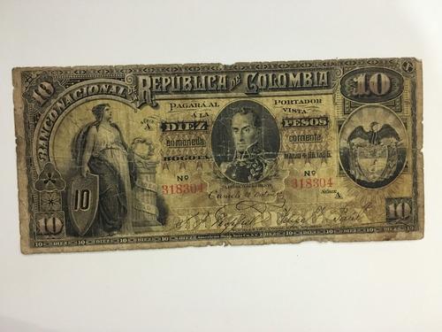 Billete República De Colombia Diez Pesos