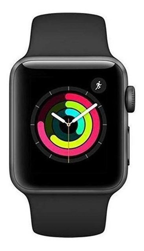 Apple Watch (gps) Series 3 38mm Caja 38mm De  Aluminio  Space Gray Malla  Black De  Fluoroelastómero A1858