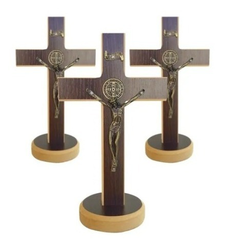 Cruz Crucifixo Madeira Mesa Parede São Bento Com Medalha 20c