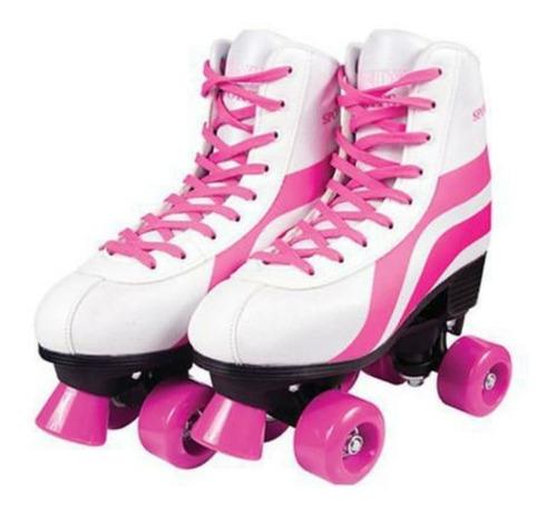 Patins Roller Skate 4 Rodas Branco E Rosa  - 38/39 - Fenix