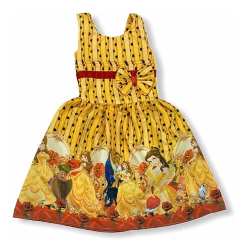 Vestido De Festa Infantil Temático A Bella E A Fera