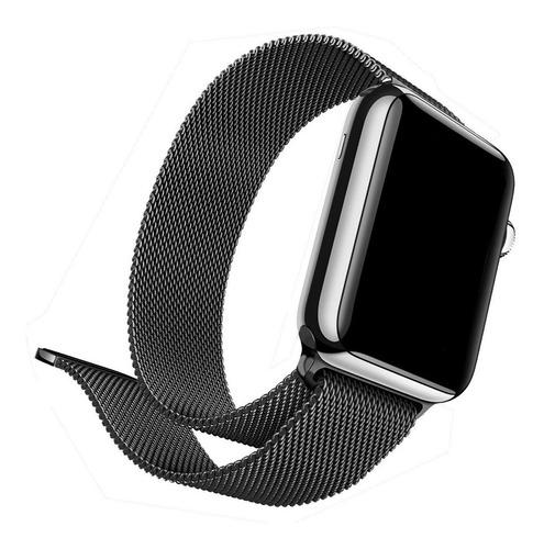 Pulseira Milanese Compatível Com Apple Watch Preta 38-44mm