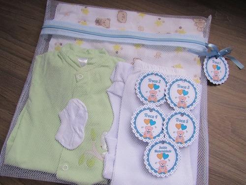 Saquinho Maternidade Zíper 6 (peças) + Tag Ursinho Azul Bebê