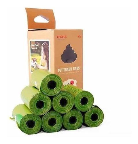 8 Rollos 120 Bolsas Biodegradables Aseo Excremento Mascotas