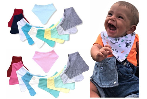 Kit 5 Babador Bandana Para Bebe Infantil  Dupla Face.
