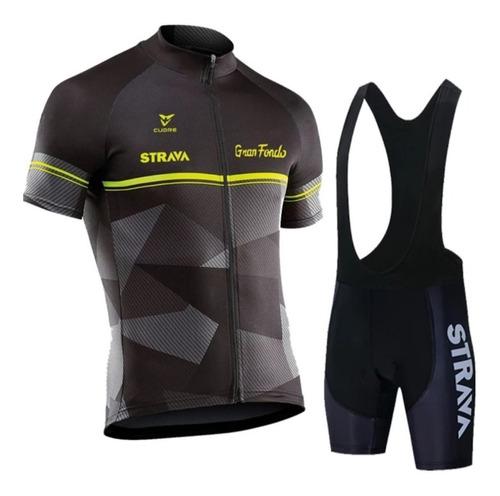 Conjunto Uniforme Roupa De Ciclismo Bretele E Camisa Strava