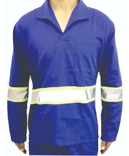 Camisa Brim Manga Longa C/ Refletivo Uniforme Azul Royal