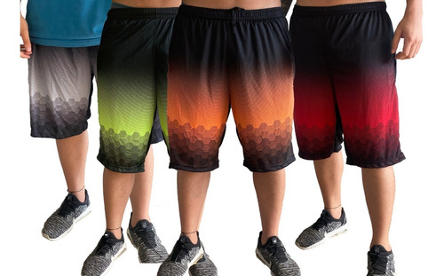 Kit 04 Shorts Poliester Masculino Plus Size Tamanho Especial