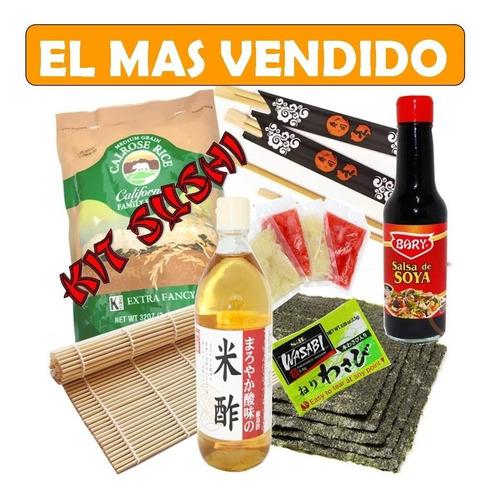 Kit Sushi 10 Hojas Algas 980gr Arroz 1 Esterilla 220ml Vinag
