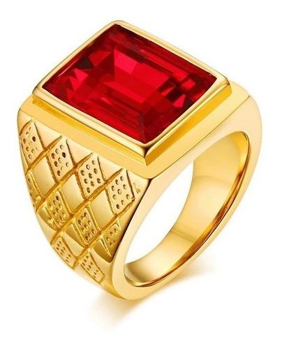 Anel Masculino Homem Banhado Ouro 18k Pedra Vermelha Granada