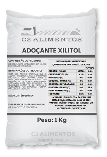 Adoçante Xilitol Natural Xylitol  - Embalagem 1kg
