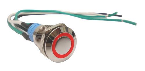 Pulsador Metalico 12mm Led Rojo Sin Retencion -incluye Cable