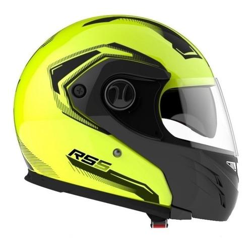 Casco Para Moto Rebatible Hawk Rs5 Vector Amarillo Fluo Talle Xl