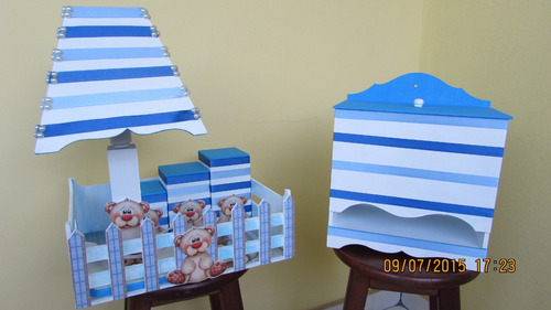 Kit Higiene De Bebê Em Mdf Menino 6 Peças Original
