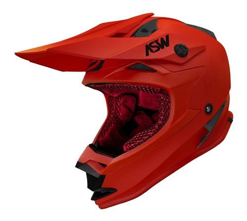 Capacete Asw Fusion Solid Vermelho Fosco Motocross
