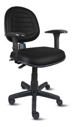 Cadeira Ergonomica Giratoria Escritorio Costura Couro Preto