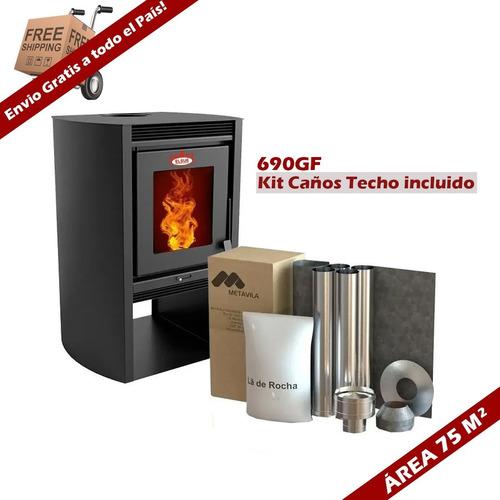 Calefactor Ecológico Leña Doble Combustión 690gf + Kit Caño