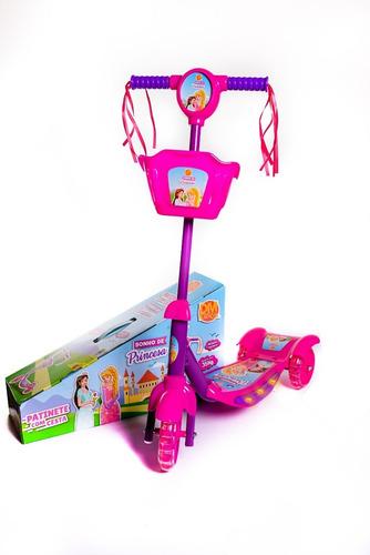 Patinete 3 Rodas Infantil Meninas Com Som E Luz