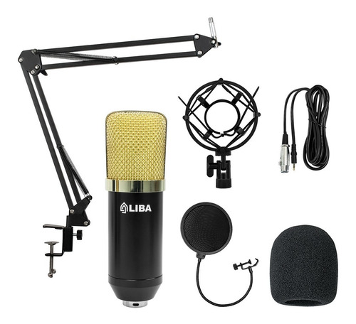 Kit Microfone Estúdio Lb-2042 + Aranha + Braço + Pop Filter