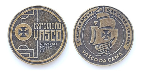 Moeda Medalha Oficial Futebol Expedição Vasco Rumo Ao Ct