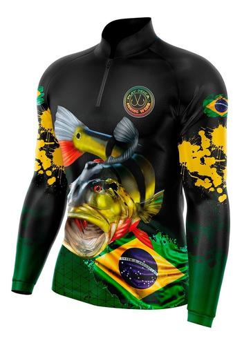 Camisa Camiseta Blusa Pesca Tucunaré Brasil Com Proteçãouv50