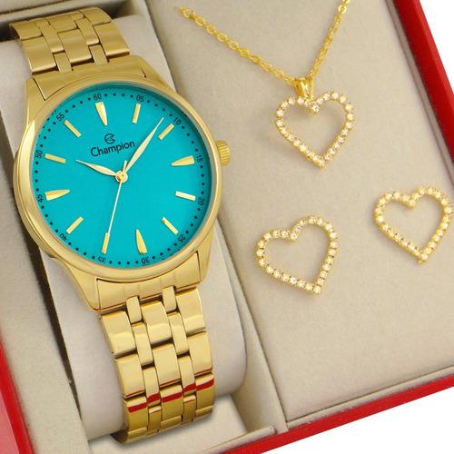 Relógio Champion Feminino Dourado Azul Prova Dagua Original