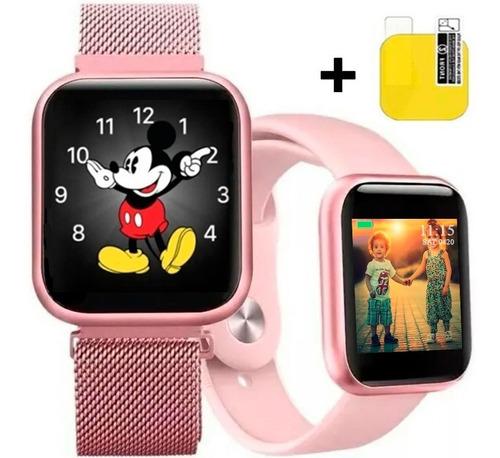 Relógio Smartwatch T80s Rose Feminino 2 Pulseiras Com Nfe