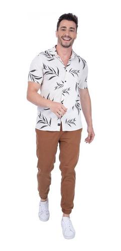 Camisa Masculina Social Manga Curta Urbô Leaves Off White