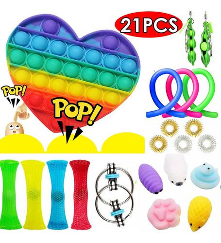 21 Peças Fidget Push Pop It Sensory Toys - Misteriosa Caixa