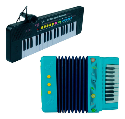 Teclado Com Som Piano Infantil C/ Microfone + Sanfona Menino